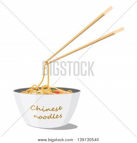 White plate with Chinese noodles on white background