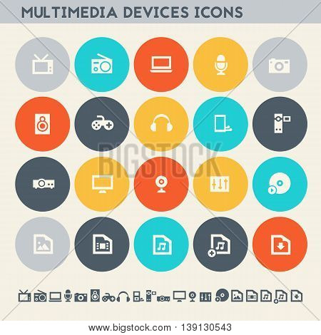 Modern flat design multicolored icons collection of multimedia devices