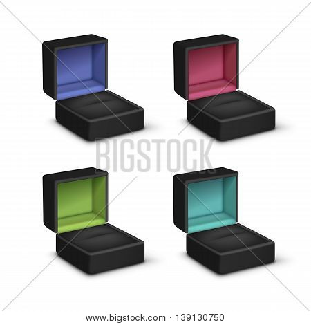 Vector Set of Empty Black Colored Velvet Opened gift jewelry boxes Close up Isolated on White Background
