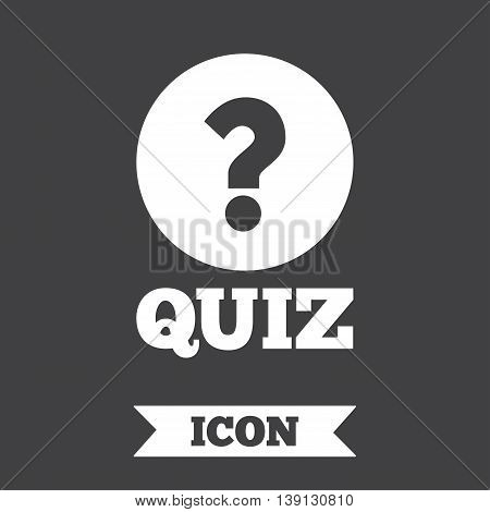 Quiz with question mark sign icon. Questions and answers game symbol. Graphic design element. Flat quiz symbol on dark background. Vector