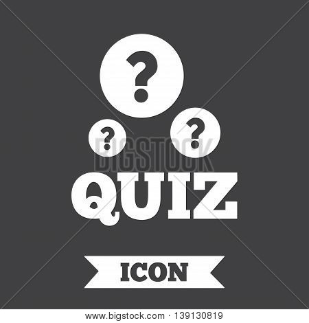 Quiz with question marks sign icon. Questions and answers game symbol. Graphic design element. Flat quiz symbol on dark background. Vector