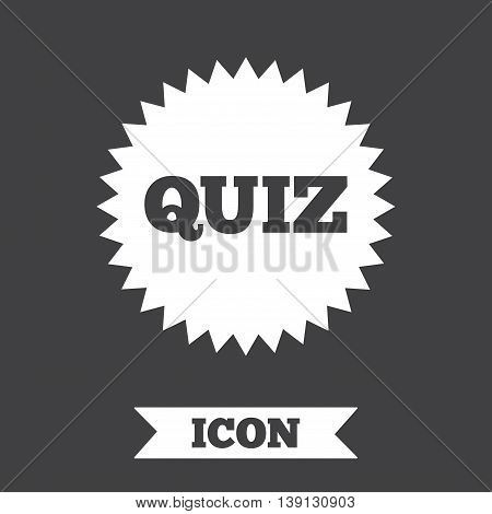 Quiz star sign icon. Questions and answers game symbol. Graphic design element. Flat quiz star symbol on dark background. Vector
