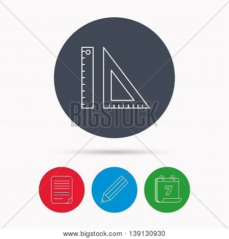 Triangular ruler icon. Geometric school supplies symbol. Calendar, pencil or edit and document file signs. Vector
