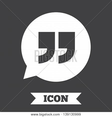 Quote sign icon. Quotation mark in speech bubble symbol. Double quotes. Graphic design element. Flat quotes symbol on dark background. Vector