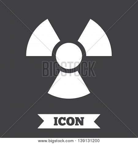 Radiation sign icon. Danger symbol. Graphic design element. Flat radiation symbol on dark background. Vector