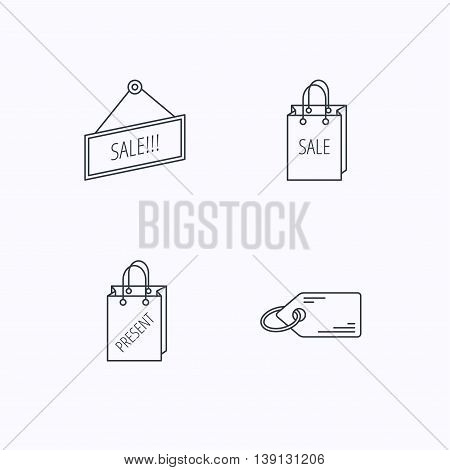 Sale, present bag and price tag icons. Special offer linear signs. Flat linear icons on white background. Vector