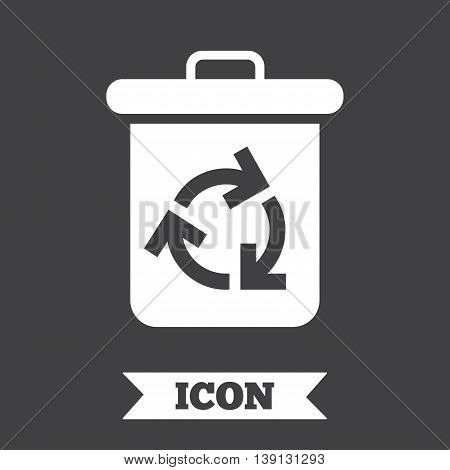 Recycle bin icon. Reuse or reduce symbol. Graphic design element. Flat recycle bin symbol on dark background. Vector