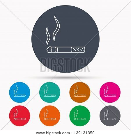 Smoking allowed icon. Yes smoke sign. Icons in colour circle buttons. Vector
