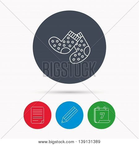 Socks icon. Baby underwear sign. Clothes symbol. Calendar, pencil or edit and document file signs. Vector