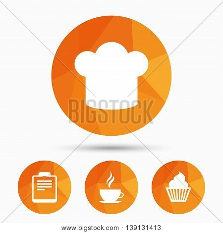 Coffee cup icon. Chef hat symbol. Muffin cupcake signs. Document file. Triangular low poly buttons with shadow. Vector