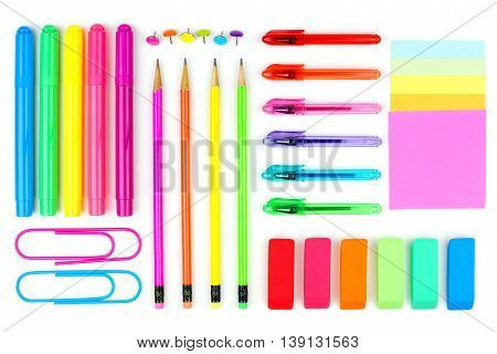 Colorful School Supplies On A White Background. Above View.