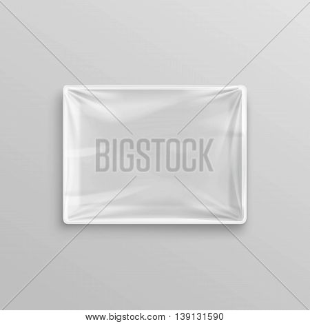 Vector White Transparent Empty Disposable Plastic Food Container for package design Top View Close up Isolated on Background