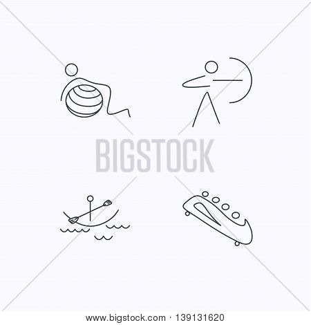 Gymnastics, boating and archery icons. Bobsled linear sign. Flat linear icons on white background. Vector