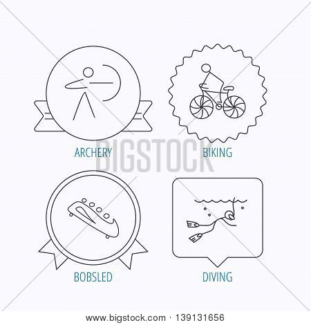 Diving, biking and archery icons. Bobsled linear sign. Award medal, star label and speech bubble designs. Vector