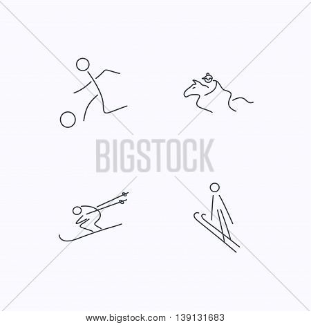 Horseback riding, football and skiing icons. Ski jumping linear sign. Flat linear icons on white background. Vector