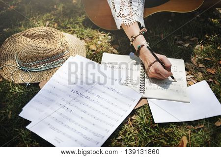 Song Writer Melody Creativity Guitar Musical Instrument Concept
