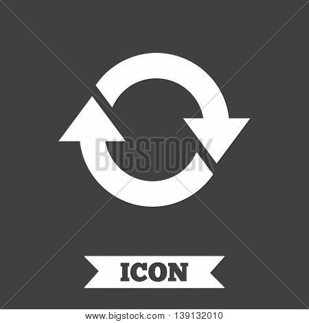 Rotation icon. Repeat symbol. Refresh sign. Graphic design element. Flat refresh symbol on dark background. Vector