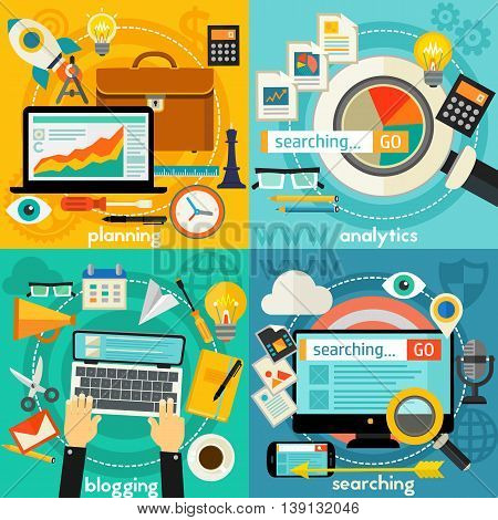 Business Planning, Blogging, Web Searching And Analytics concept banners. Square compositions, vector illustration