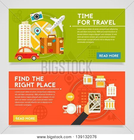 Time for travel and Find the right place concept banners. Horizontal composition, vector illustrations