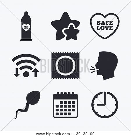 Safe sex love icons. Condom in package symbol. Sperm sign. Fertilization or insemination. Wifi internet, favorite stars, calendar and clock. Talking head. Vector