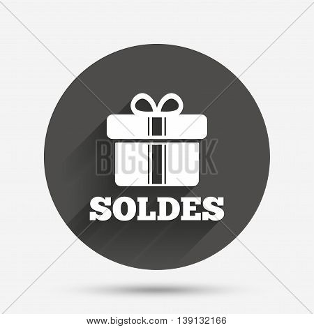 Soldes - Sale in French sign icon. Gift box with ribbons symbol. Circle flat button with shadow. Vector