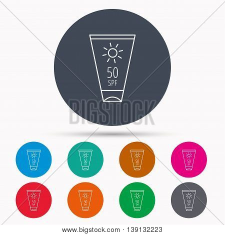Sun cream container icon. Beach lotion sign. Icons in colour circle buttons. Vector