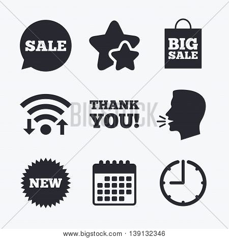 Sale speech bubble icon. Thank you symbol. New star circle sign. Big sale shopping bag. Wifi internet, favorite stars, calendar and clock. Talking head. Vector