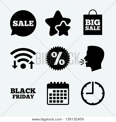 Sale speech bubble icon. Discount star symbol. Black friday sign. Big sale shopping bag. Wifi internet, favorite stars, calendar and clock. Talking head. Vector