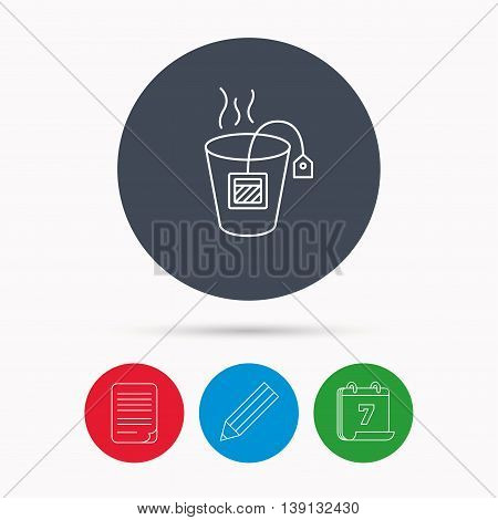 Tea bag icon. Natural hot drink sign. Breakfast beverage symbol. Calendar, pencil or edit and document file signs. Vector
