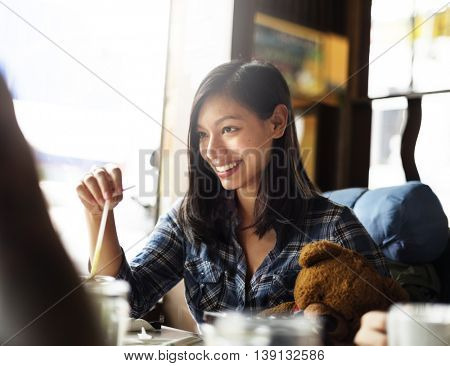 Girl Coffee Shop Drinking Beverage Cafe Restaurant Concept