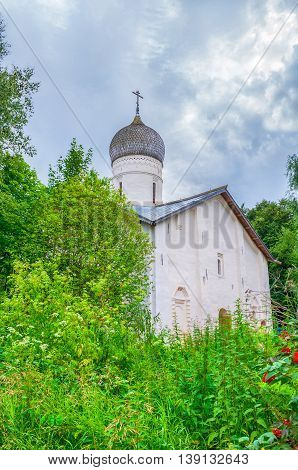 Architecture landscape - Church of the Annunciation in Arkazhi or the Church of the Annunciation on Myachino Lake in Veliky Novgorod Russia