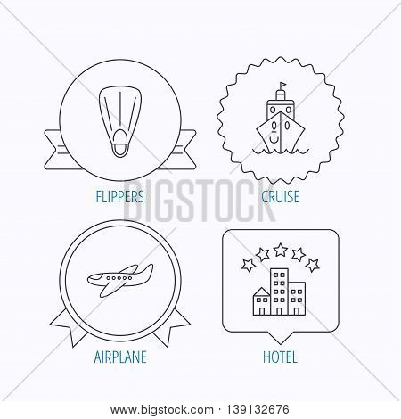 Cruise, flippers and airplane icons. Hotel linear sign. Award medal, star label and speech bubble designs. Vector