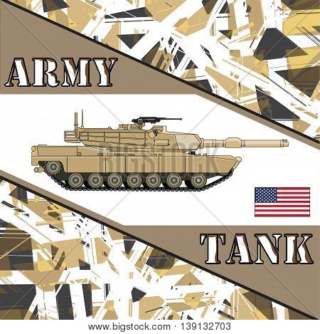 Military tank american army. Armoaar vehicles illustration