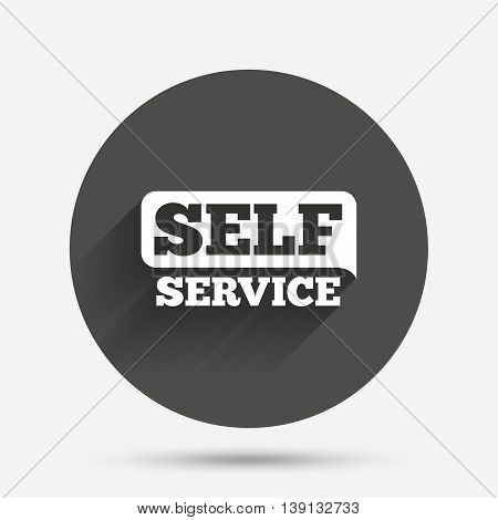 Self service sign icon. Maintenance button. Circle flat button with shadow. Vector