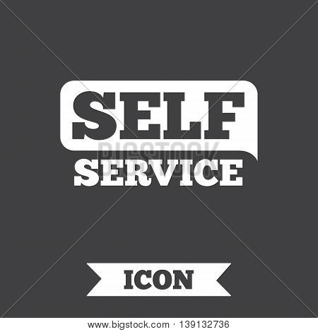 Self service sign icon. Maintenance button. Graphic design element. Flat self service symbol on dark background. Vector