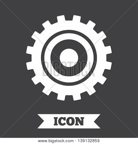 Cog settings sign icon. Cogwheel gear mechanism symbol. Graphic design element. Flat cogwheel gear symbol on dark background. Vector