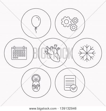 Newborn, heart and air balloon icons. Snowflake linear sign. Check file, calendar and cogwheel icons. Vector