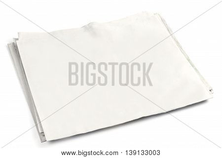 Blank newspaper front page with copyspace on white background