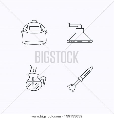 Coffee, kitchen hood and blender icons. Multicooker linear sign. Flat linear icons on white background. Vector