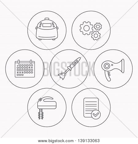 Multicooker, hair-dryer and blender icons. Mixer linear sign. Check file, calendar and cogwheel icons. Vector