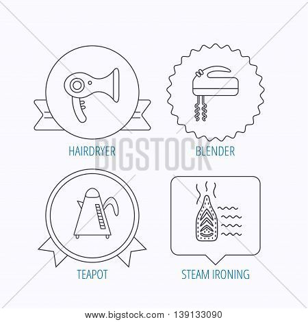 Steam ironing, kettle and blender icons. Hairdryer linear sign. Award medal, star label and speech bubble designs. Vector