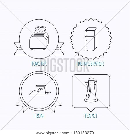 Toaster, refrigerator and iron icons. Kettle linear sign. Award medal, star label and speech bubble designs. Vector
