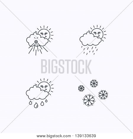 Snowflakes, sun and rain icons. Wind linear sign. Flat linear icons on white background. Vector