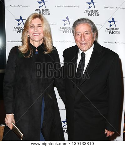 NEW YORK-OCT 19: Susan Crow (L) and Tony Bennett attend the 2015 National Arts Awards at Cipriani 42nd Street on October 19, 2015 in New York City.