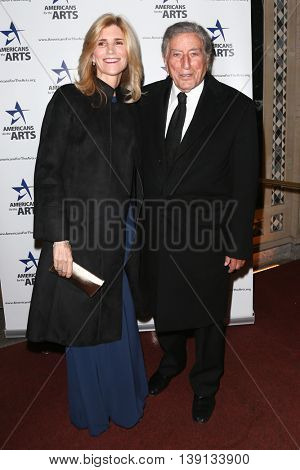NEW YORK-OCT 19: Tony Bennett (L) and wife Susan Crow attend the 2015 National Arts Awards at Cipriani 42nd Street on October 19, 2015 in New York City.