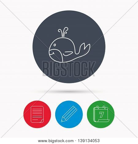 Whale icon. Largest mammal animal sign. Baleen whale with fountain symbol. Calendar, pencil or edit and document file signs. Vector