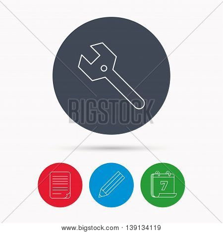 Wrench key icon. Repair fix tool sign. Calendar, pencil or edit and document file signs. Vector