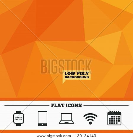 Triangular low poly orange background. Notebook and smartphone icons. Smart watch symbol. Wi-fi sign. Wireless Network symbol. Mobile devices. Calendar flat icon. Vector