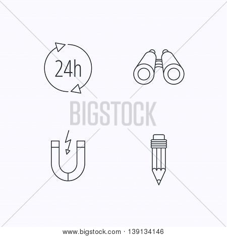 24h service, pencil and magnet icons. Search linear sign. Flat linear icons on white background. Vector
