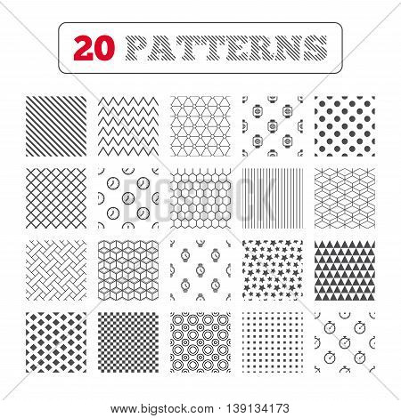 Ornament patterns, diagonal stripes and stars. Smart watch with internet icons. Mechanical clock time, Stopwatch timer symbols. Wrist digital watch sign. Geometric textures. Vector